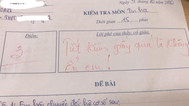 Thầy giáo cho đề kiểm tra cực khó, học trò khóc ròng nhưng lại cười ngay vì loạt lời phê cưng xỉu 4