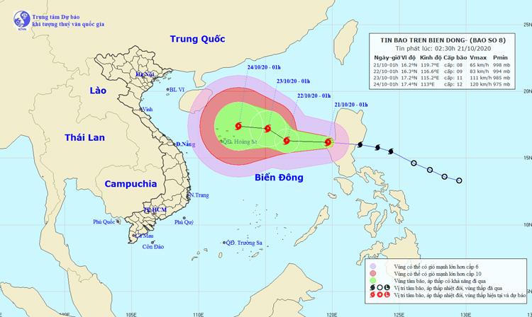 Đường đi và vị trí của bão số 8. Nguồn: NCHMF