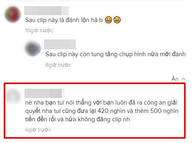 Nữ chính áo hồng cho biết trước khi bị đánh thì nhóm của cô cũng đã đưa 500k cho người phụ nữ áo vàng, được thối lại 80k.