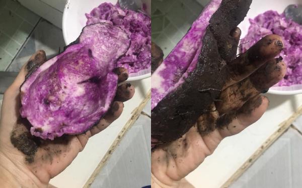 Cách sơ chế khoai mỡ của cô gái rất mất vệ sinh và ảnh hưởng đến chất lượng của món ăn.