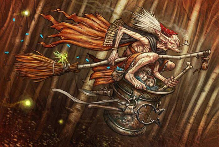 Baba Yaga thường di chuyển bằng một cái cối.
