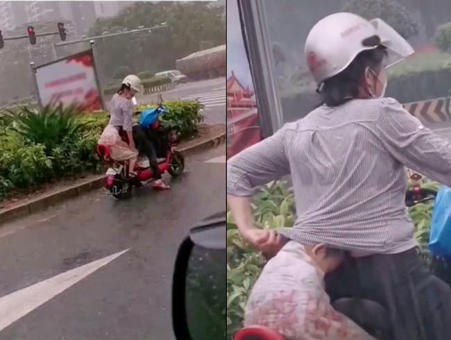 Em bé núp sau mẹ lưng như ninja, cảnh tượng vừa hài hước vừa cảm động vì manh áo mẹ luôn là tấm khiên bảo vệ an toàn nhất 1