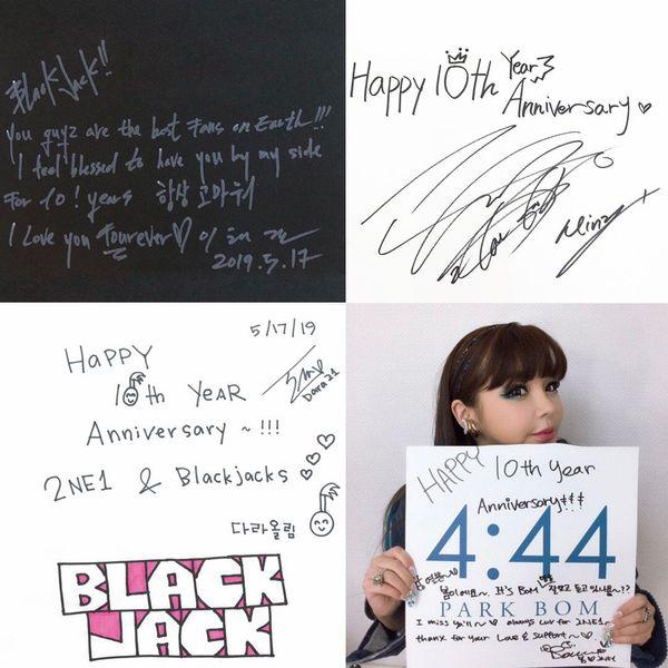 Những thông điệp mà 4 thành viên 2NE1 đã viết tay để gửi lời cảm ơn đến người hâm mộ.