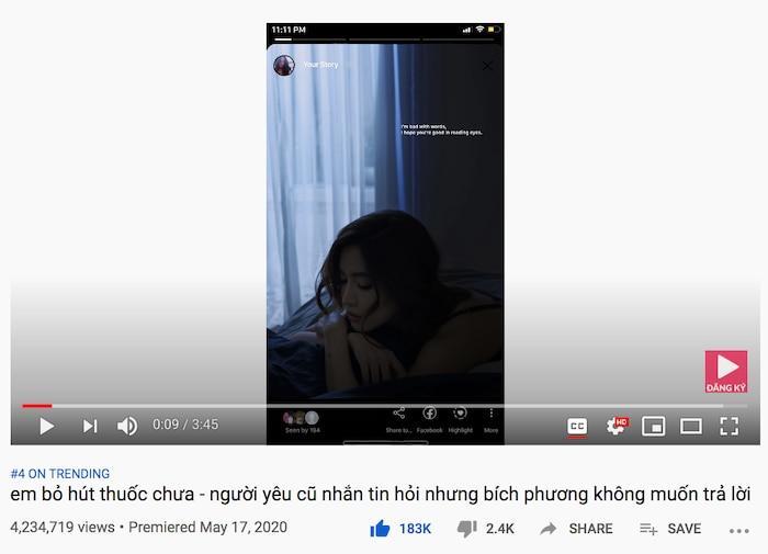 Trên mặt trận YouTube, MV 'em bỏ hút thuốc chưa?' đã đạt hơn 4.2 triệu lượt xem sau 2 ngày, đạt top 4 trending Việt Nam. Bên cạnh đó, hai bản instrumental của 'em bỏ hút thuốc chưa' cũng lần lượt xếp hạng #38 và #47 ở nền tảng này.