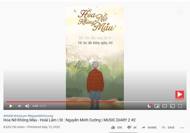 Ca khúc được lần đầu đăng tải trên kênh của Nguyễn Minh Cường, đạt 8 triệu lượt xem. (Ảnh: Chụp màn hình)