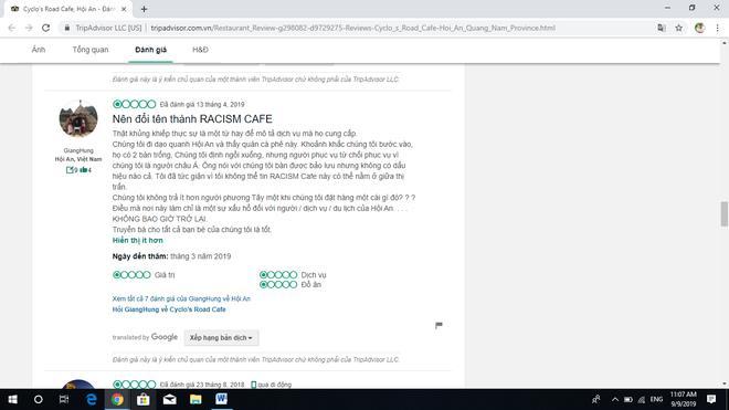 Du khách người Việt bức xúc về quán Cyclo's Road trên trang TripAdvisor.Nội dung chú thích ảnh