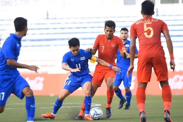 U22 Thái Lan (áo xanh) thua U22 Indonesia. (Nguồn: FAT)