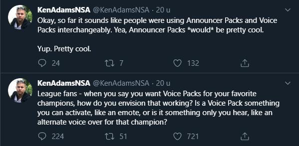 Vào tháng 11 thì quản lý sản xuất của LMHT - Ken Adams cũng cho rằng Announcer Packs là dự án thú vị và có thể được thực hiện