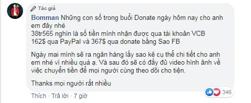 Bomman thông báo chi tiết số tiền nhận được từ buổi stream từ thiện