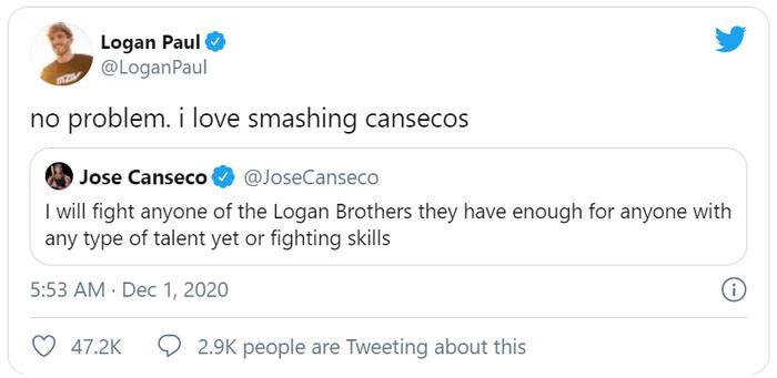 Logan Paul chấp nhận lời thách đấu của ông Jose Canseco