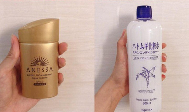 Kem chống nắng Anessa Anessa Perfect UV (Giá khoảng: 500.000 VNĐ) và Lotion Naturie (Giá khoảng: 300.000 VNĐ)