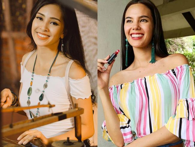 Có lẽ nụ cười rạng rỡ và tươi chính là điểm giống nhau nhất ở 2 nàng Hoa hậu này.