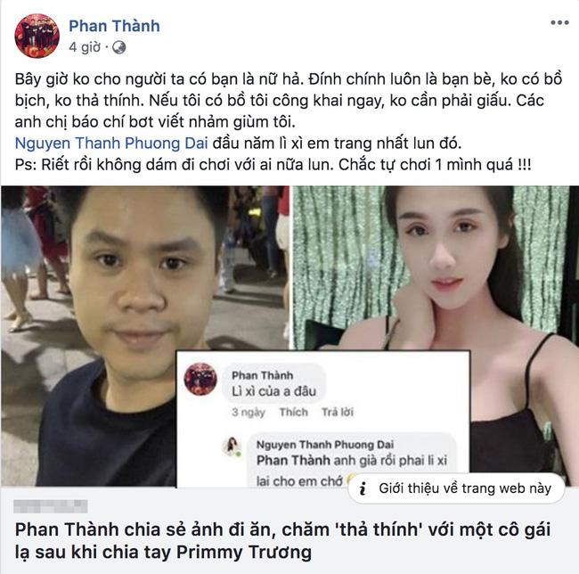Phan Thành không thoải mái trước thông tin đang 'thả thính' Phương Đài dù vừa chia tay Primmy Trương.