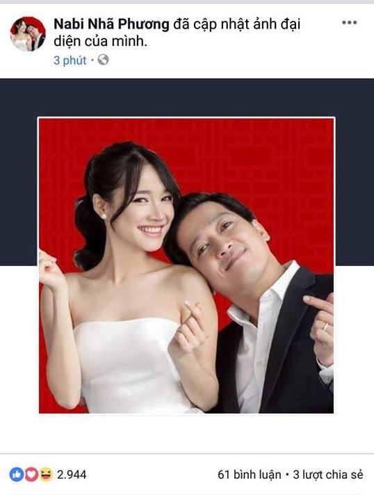 Nhã Phương - Trường Giang đồng loạt thay ảnh đại diện fanpage sang ảnh cưới trước đó.