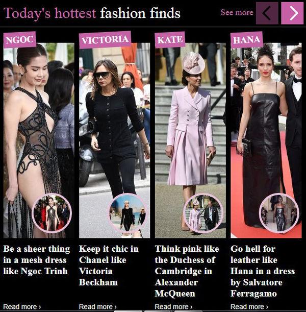 Hình ảnh cùng tên của Ngọc Trinh được xếp đầu bảng từ khóa tìm kiếm trong mục thời trang của tạp chí Mail, bên cạnh bà Beck cùng công nương Kate.
