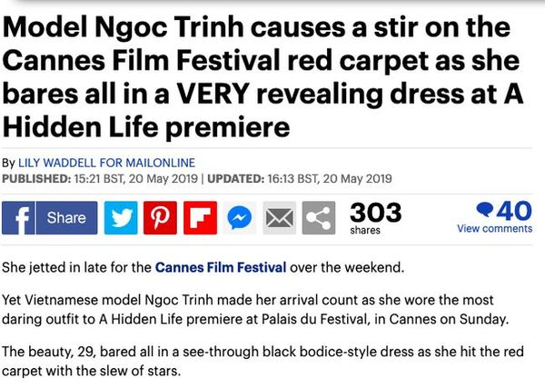 Ngoài ra, trang Dailymail - tờ báo nổi tiếng của Anh cũng vừa đăng tải loạt ảnh sải bước của Ngọc Trinh trên thảm đỏ Cannes.