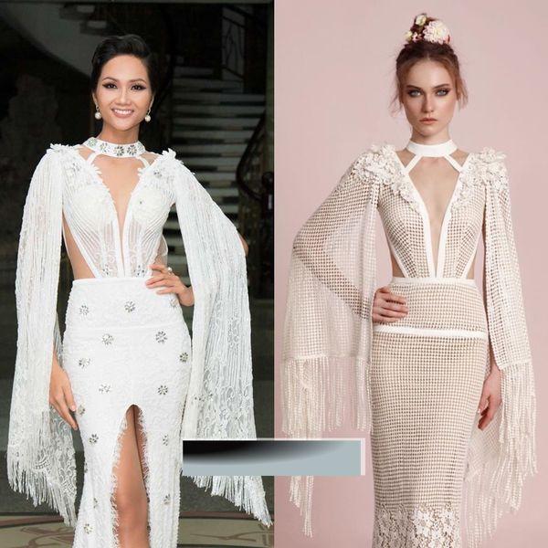 Trang phục của Hoa hậu Hoàn vũ Việt Nam được Linh San thiết kế riêng, nhưng lại có nhiều điểm tương đồng với sản phẩm củaLior Charchytrong BST Xuân - Hè 2017 từ chất liệu xuyên thấu, phom dáng cho đến đường cắt xẻ gợi cảm. Điểm khác biệt duy nhất chính là phần cổ áo trong bộ cánh của H'Hen Niê được đính kết đá lấp lánh.