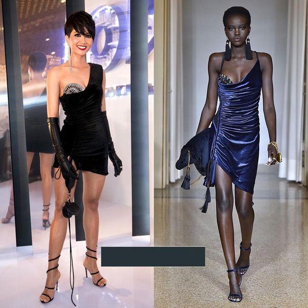 Chiếc váy H'Hen niê diện của nhà tạo mốt Lưu Ngọc Kim Khanh lại trùng ý tưởng với váy của thương hiệuVersace.