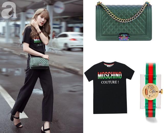 Ví dụ như set street style đơn giản này của Nam Em. Cô mix quần jeans gấu bất đối xứng cùng áo phông Moschino (khoảng 6 triệu), trên tay là chiếc đồng hồ Gucci (giá hơn 21 triệu), và khủng nhất là chiếc túi Chanel Boy màu xanh (khoảng hơn 150 triệu đồng). Ước tính set đồ này của Nam Em lên tới gần 200 triệu.