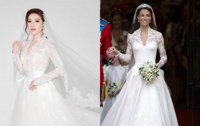 Có thể thấy nét tương đồng trong váy cưới của Bảo Thy và Công nương Kate với đường nét thiết kế tuyệt đẹp. Một phong cách cổ điển, lãng mạn đậm chất quý tộc không bao giờ lỗi thời, đầy thanh lịch, cổ chữ V gợi cảm mà kín đáo, sắc ren ngọt ngào.