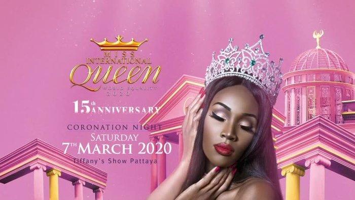 Poster của mùa giải Miss International Queen 2020 lấy màu hồng làm chủ đạo.
