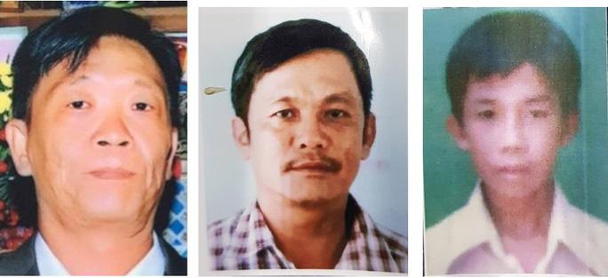 Thông báo truy tìm 3 đối tượng liên quan là Võ Văn Kha; Trần Văn Phương và Phạm Thanh Sang (từ trái sang phải)