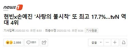 Với rating đạt 17,7% cho tập 14 mới đây, Crash Landing On You góp mặt trong top 4 phim ăn khách nhất của đài tvN.