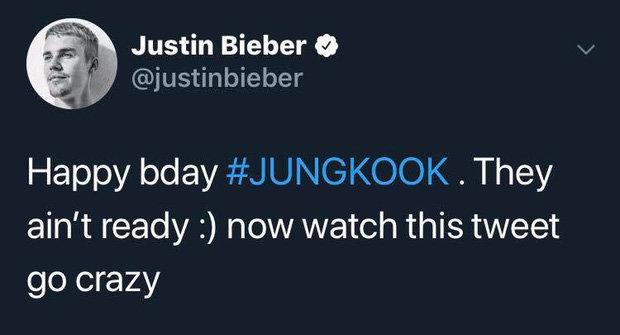 Justin Bieber bất ngờ chúc mừng sinh nhật Jungkook trên trang cá nhân vào ngày 1/9/2019.