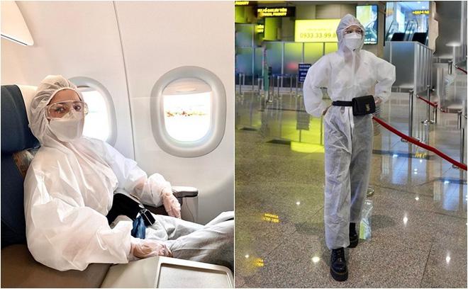 Chi Pu và nhiều nghệ sĩ sử dụng trang phục bảo hộ kín mít khi ra sân bay.