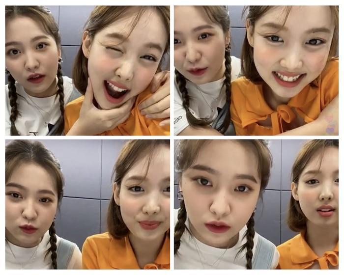 Nayeon và Yeri trong buổi livestream.