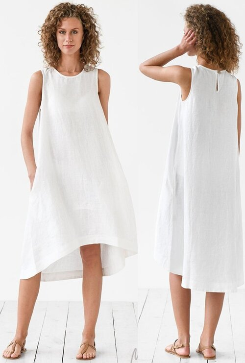 Mẫu gốc của bộ váy trắng tinh khôi vải linen