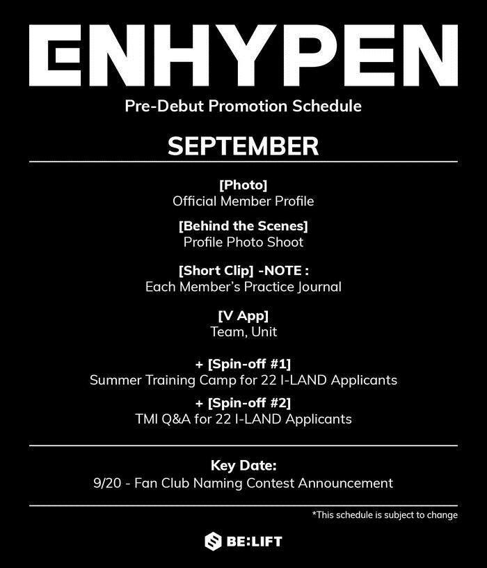 Lịch trình các hoạt động trước thềm ra mắt của ENHYPEN.