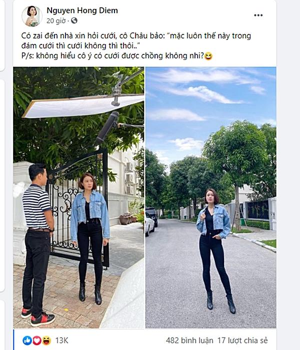 Hồng Diễm lại gây náo loạn mạng xã hội khi đăng ảnh Hồng Đăng đến tận nhà hỏi cưới 0