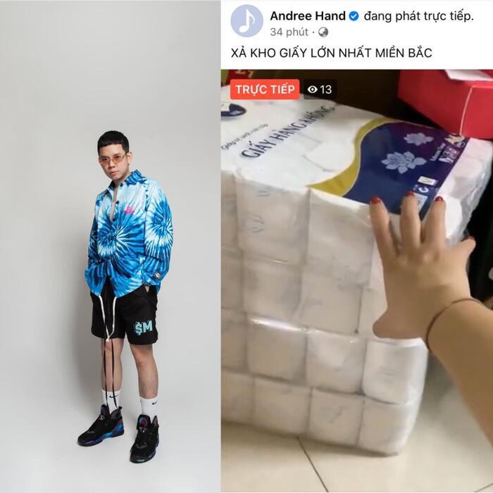 Rapper Andree bất ngờ livestream bán giấy vệ sinh? 0