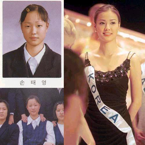 Dù đạt danh hiệu Hoa hậu nhưng Son Tae Young vẫn không tránh khỏi nghi vấn đại trùng tu nhan sắc. So với những hình ảnh trong quá khứ, nhan sắc hiện tại của cô nàng trông chẳng khác gì màn 'vịt hóa thiên nga' vô cùng ngoạn mục.