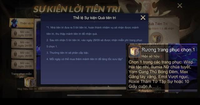 Danh sách các skin được tặng để game thủ chọn lấy 1.