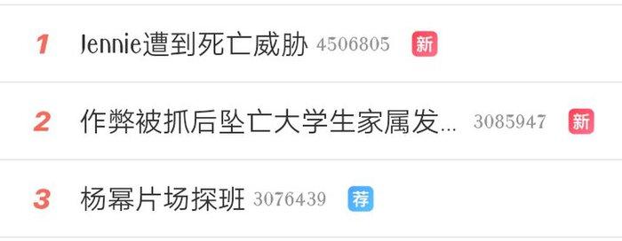 Từ khoá 'Jennie bị đe doạ' #1 hot search Weibo ngày hôm qua.
