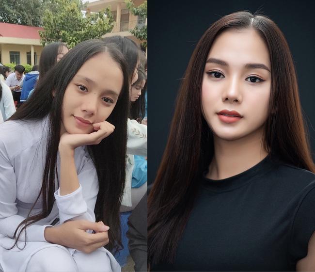 Nguyễn Thị Bích Thùy của trước và sau khi trang điểm.