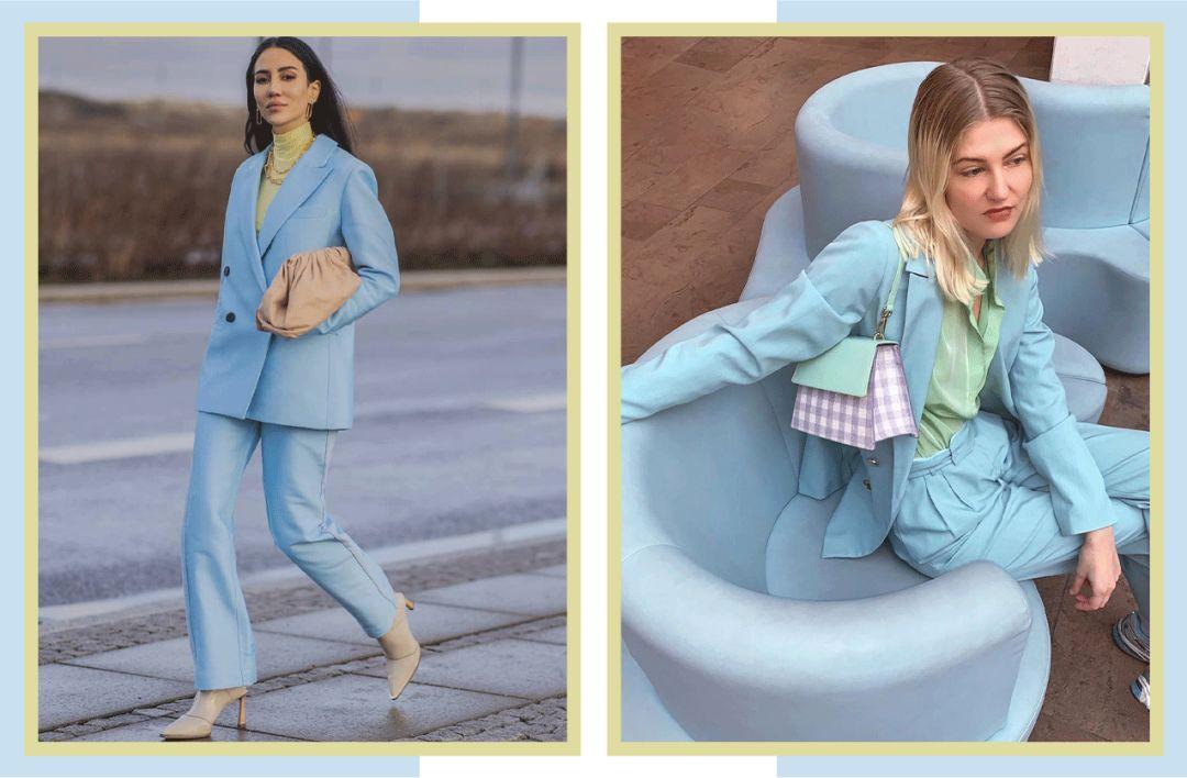 Một cách diện hay ho khác là diện bộ suit màu xanh baby, bên trong là áo sơ mi màu xanh quả bơ