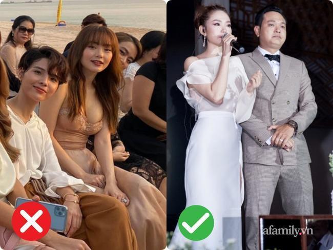 So với bộ váy màu nude gợi cảm thì Minh Hằng diện thiết kế váy trắng lệch vai trong đám cưới của em trai cô nhìn thanh thoát, sang trọng và tinh tế hơn nhiều.