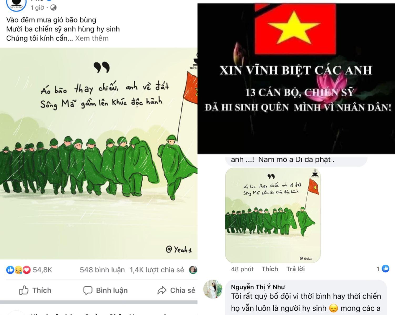 Hình ảnh được chia sẻ trên mạng xã hội để tưởng niệm 13 cán bộ, chiến sĩ hy sinh ở thủy điện Rào Trăng 3.