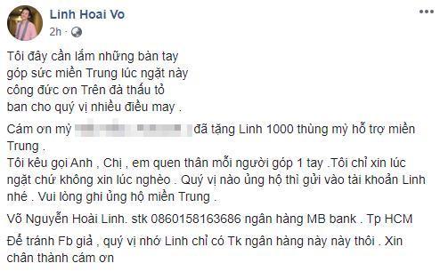 Chỉ trong vòng 2 tiếng, nghệ sĩ Hoài Linh thông báo quyên góp được 200 triệu đồng tiền từ thiện hỗ trợ miền Trung 0
