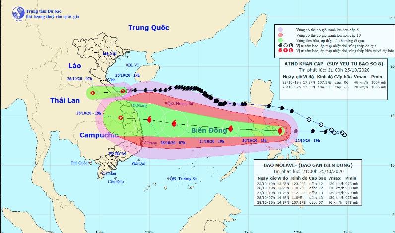 Áp thấp nhiệt đới gây mưa to từ Nghệ An đến Thừa Thiên - Huế. Ảnh: nchmf.gov.vn