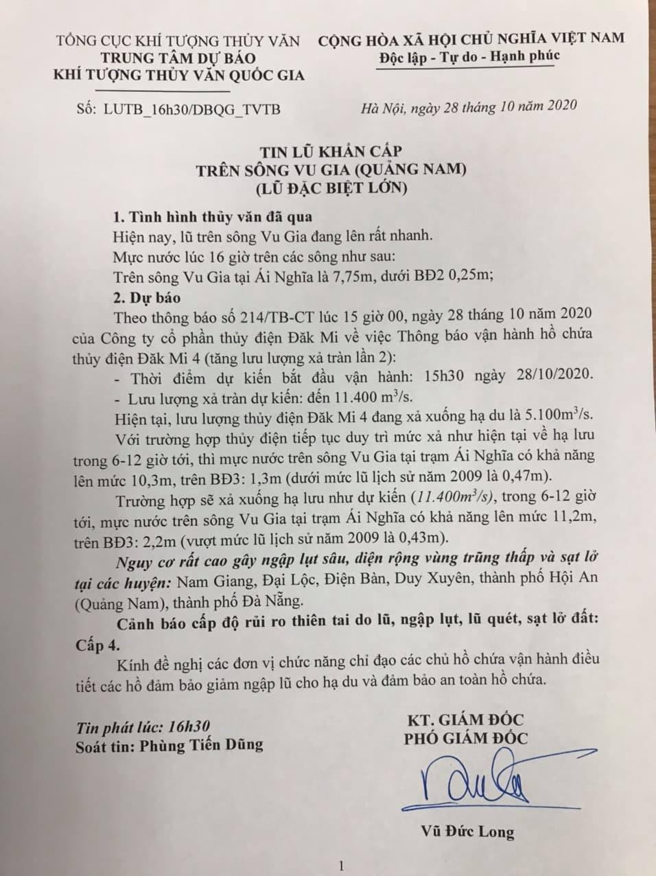 Tin lũ đặc biệt lớn trên sông Vu Gia (Quảng Nam) của Trung tâm Dự báo Khí tượng thủy văn Quốc gia. Ảnh: Dân Việt