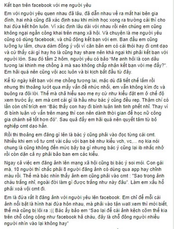 Bài chia sẻ của cô gái trên một page lớn