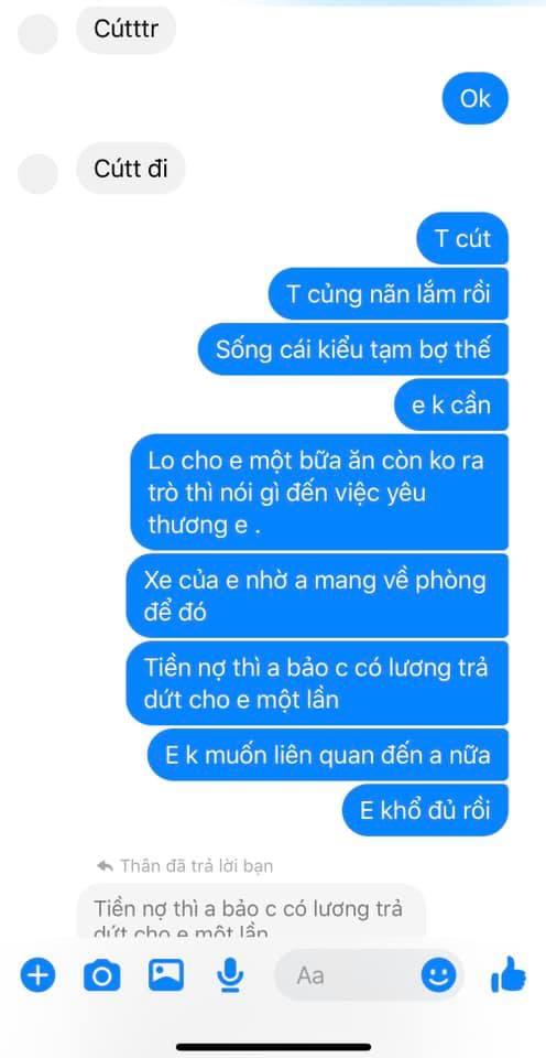 Tin nhắn cuối cùng cô gái dành cho người yêu.