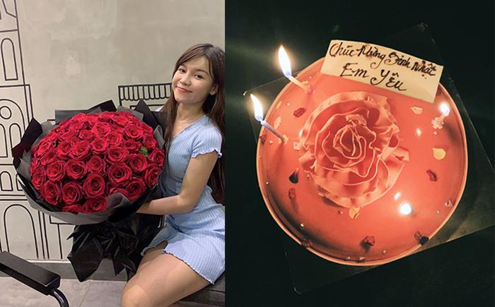 Yến Xuân khoe hoa hồng và bánh kem được Đặng Văn Lâm tặng.