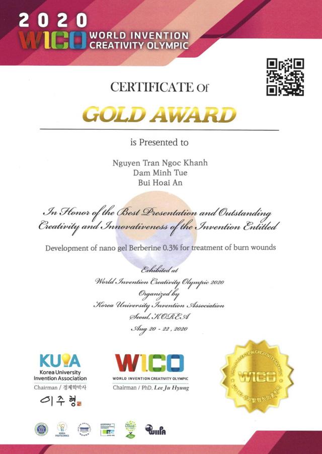 Giải Vàng ở kỳ thi Olympic Phát minh và Sáng tạo Khoa học thế giới 2020 dành cho nhóm 3 bạn học sinh Thủ đô.