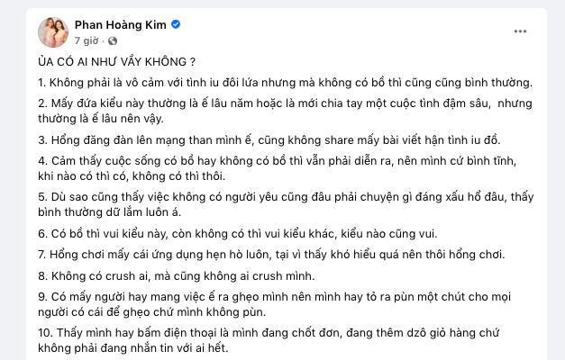 Bài đăng của hoa hậu Phan Hoàng Kim