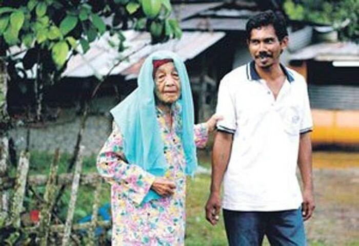 Bà Kundor bên cạnh người chồng kém 70 tuổi.